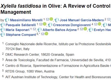 BIOVEXO scientific paper on Xylella control measures
